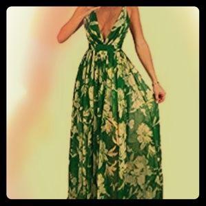 Deep V Neck Floral Maxi Dress 16w